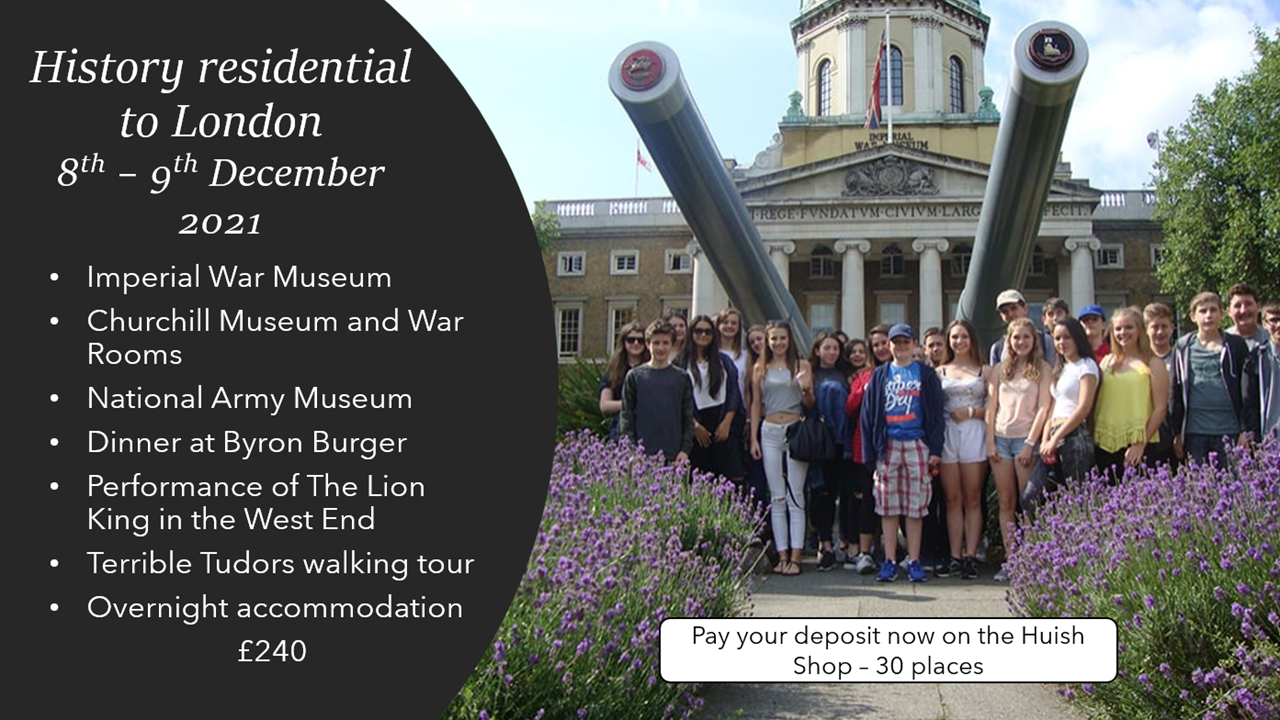 History residential trip to London 2021 - DEPOSIT